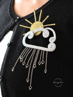Soutache brooch, sun and cloud brooch, weather pin, sun cloud rain pin Jewelry Art, Jewelry Design, Fashion Jewelry, Jewellery, Bead Embroidery Jewelry, Beaded Embroidery, Brooches Handmade, Handmade Jewelry, Sun And Clouds