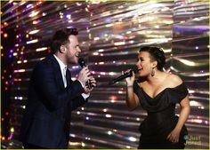 Demi Lovato performs on the xfactor uk with Olly Murs