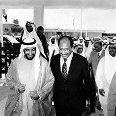 Sheikh Zayed bin Sultan Al Nahyan receives the late Egyptian President Anwar Sadat (God have mercy) in Abu Dhabi