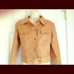 """Baby Phat """"Ostrich Quill"""" looking jacket Cute tan jacket that's designed to look like Ostrich Quill leather. This is the perfect summer to fall transition jacket and looks stunning with jeans & boots. Large Baby Phat leather logo on back, small one at the bottom of left sleeve and snap detail from cuff to elbow. Excellent condition! Baby Phat Jackets & Coats"""