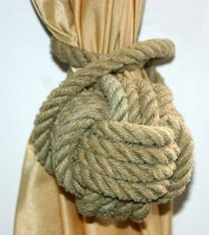 Natural Rope Curtain Tie Back Monkey Fist Knot Wrap Around Nautical Decor Tan Khaki Natural by AlaskaRugCompany on Etsy