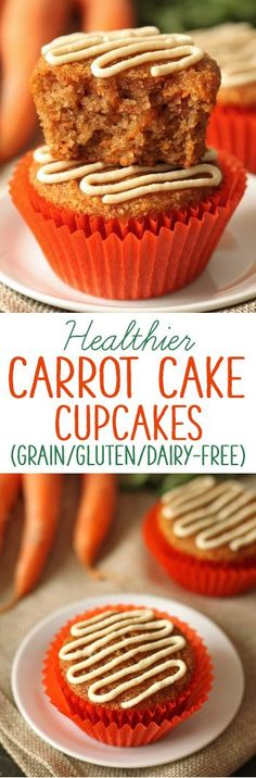 Super moist, light and fluffy healthier carrot cupcakes grain-free, gluten-free…