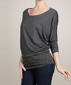 Look what I found on #zulily! Charcoal Three-Quarter Sleeve Boatneck Top #zulilyfinds