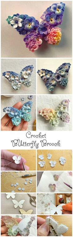 Crochet Butterfly Brooch – Knitting and crocheting Crochet Butterfly, Butterfly Crafts, Crochet Flower Patterns, Crochet Motif, Crochet Flowers, Crochet Stitches, Knitting Patterns, Crochet Brooch, Crochet Coaster