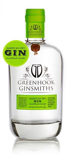 Greenhook Ginsmiths Gin. 47 % ABV. Contemporary. American Dry Gin made from organic New York state wheat, Tuscan Juniper, coriander, chamomile, elderflower, citrus, thai blue ginger, ceylon cinnamon, orris root and elderberry. 94 pts Tasting Panel Magazine.