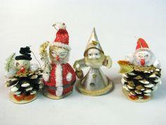 Lot Vintage SANTA SNOWMAN Pine Cone Figurines Japan Christmas Ornaments