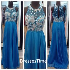 Gorgeous blue beading bodice chiffon prom dress / evening dress / long party dress / long evening dress on Etsy, $198.99