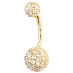 Diamond Pave 14K Yellow Gold Belly Button Ring 5mm 8mm Balls ($2,793) ❤ liked on Polyvore featuring jewelry, piercings, accessories, belly rings, items, 14k jewelry, 14 karat gold jewelry, belly button rings jewelry, ball jewelry and belly rings jewelry