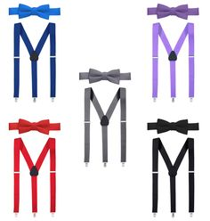 Pre tied Bow Tie-Light Blue 26 Hold/'Em Suspender and Bow Tie Set for Kids Boys Extra Sturdy Polished Silver Metal Clips Proudly Made in USA and Baby