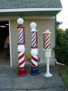 Group Of Antique Barber Shop Street Poles | Obnoxious Antiques
