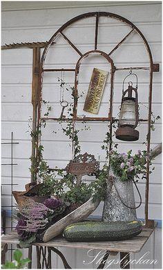 old iron window frame vignette