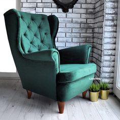 Wyjątkowy plusz kinderdijk w kolorze zielonym. Wyjątkowa jakość tkaniny - pamietajmy - meble kupujemy na kata Wingback Chair, Armchair, Vintage Decor, Accent Chairs, Furniture, Home Decor, Sofa Chair, Upholstered Chairs, Single Sofa