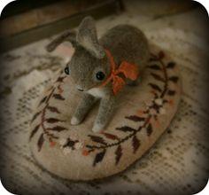 Bittersweet Bunny. Pin cushion. Wool felt rabbit, cross stitched cushion.
