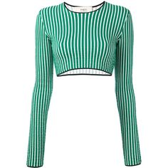 Ports 1961 striped cropped sweater (3,150 HNL) ❤ liked on Polyvore featuring tops, sweaters, crop tops, shirts, green, green sweater, green striped shirt, white crop top, white sweater and white crop shirt
