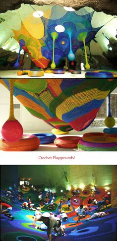 These colorful playgrounds were originally designed by Toshiko Horiuchi MacAdams. Their innovative design allows tension to be maintained as the fiber stretches, therefore enabling the children (or adults) to play safely. And they are the coolest most colorful playgrounds I have ever seen. May we always be young enough...