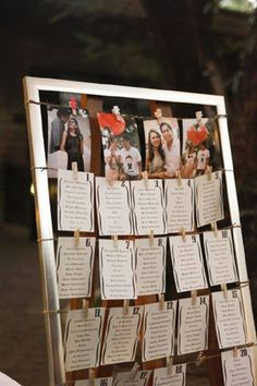 Seat assignments were printed on cards, which were hung from a wooden frame.