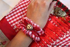 Dirndl Trachten Armband Textil Oktoberfest von Dirndl-Couture auf DaWanda.com
