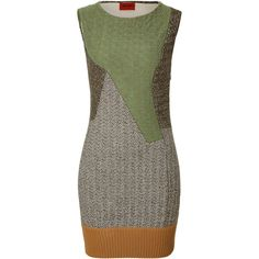Missoni Wool Blend Patchwork Dress ($633) ❤ liked on Polyvore featuring dresses, multicolor, multi colored dress, brown dress, sheath dress, brown sleeveless dress and multicolored dress