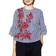 46e60a49 ELINKMALL Women Elegant OL Embroidery Turn-down Casual Blue Striped Long  Sleeve Blouse Tops at Amazon Women's Clothing store:
