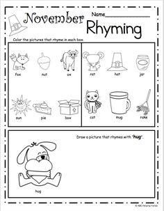 Halloween Rhyming Worksheet – Free literacy building page for ...
