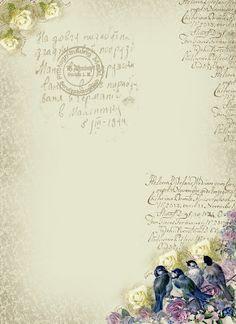 Astrid's Artistic Efforts: Blue birds in the bottom corner, roses on top corner post marks and vintage writing Vintage Labels, Vintage Ephemera, Vintage Cards, Vintage Paper, Vintage Images, Retro Vintage, Vintage Pictures, Vintage Style, Paper Art