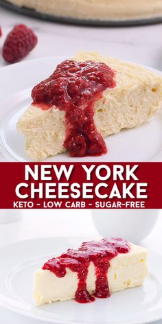 Easy and oh-so-creamy, this crustless keto cheesecake is the best low carb dessert! No one will believe it's sugar-free. Impress even the most diehard carb lover with this delicious keto cheesecake recipe. recipes dessert videos Keto New York Cheesecake Keto Desserts, Sugar Free Desserts, Sugar Free Recipes, Low Carb Recipes, Diet Recipes, Holiday Desserts, Diabetic Recipes, Diabetic Desserts Sugar Free Low Carb, Carb Free Meals