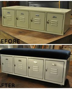 I WILL FIND>  This locker alone would have been great for a mudroom or in the garage, but Lara went a step further by adding a seat cushion. Now, this piece serves double duty as storage and seating.