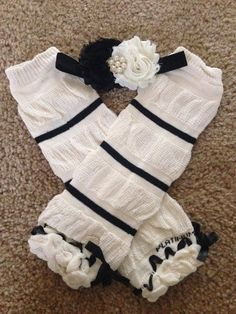 black ivory baby headband and leg warmer SET baby by LBbowtique1, $15.00