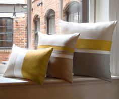 Chambray Striped Pillow Set of 3 - Mustard Yellow by Jillian Rene Decor
