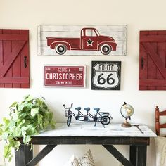 This large scale rustic, vintage truck 3 piece art set is perfect for any truck enthusiast, from little boys to the hot rod young at heart! Rustic / vintage transportation art is perfect for baby boy nurseries, boy caves, transportation themed bedrooms, game rooms, man caves or anywhere a little fun is needed! And, you can choose your own color scheme!