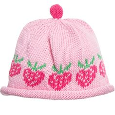 Merry Berries cotton knitted baby hat with a cute strawberry pattern. With its fun design and soft texture, the hat makes an adorable little accessory for a new arrival. Merry Berries sizes:  Age/Designer size: 6-12mth= Size 3