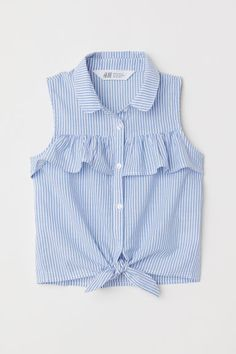 Sleeveless Tie-front Blouse - Light blue white striped - Kids H M US 1 Girls Fashion Clothes, Teen Fashion Outfits, Kids Outfits, Girl Fashion, Cute Outfits, Kids Clothing, Style Fashion, Baby Dress Design, Frock Design