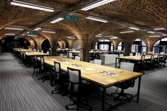 The Dock - London Coworking Offices - Office Snapshots Office Carpet, Linear Lighting, Lighting System, Desk Layout, Traditional Office, System Furniture, Workplace Design, Office Lighting, Office Workspace