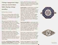 Monday, 17 November 2014: (Online) The Jewellery Editor - Grays is featured in an article entitled 'Vintage engagement rings: what you need to know before buying vintage jewellery'.