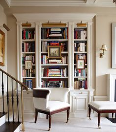 Lots of books, lots of shelves for them, lights to see them, and a chair for reading them!