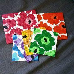 Marimekko inspired coaster set hama perler beads by pixelpearlsshop