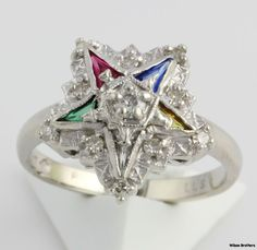 OES Genuine .12ctw Diamond Syn Gemstones Ring 14k Gold Order of Eastern the Star | eBay