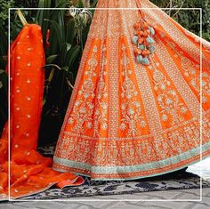 Orange gold embroidered bridal lehenga with latkans. Call/WhatsApp for Purchase Inqury : Designer Bridal Lehenga, Indian Bridal Lehenga, Indian Bridal Outfits, Indian Bridal Wear, Bridal Dresses, Designer Lehanga, Indian Dresses, Indian Wear, Indian Wedding Receptions