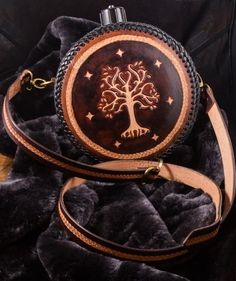 Personalized leather flask custom made to order larp fantasy