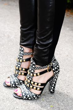 classic-black-white-outfit. I love the gold and silver studs on these shoes.