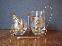 Vintage 1960s Libbey Golden Foliage Cream and Sugar Set with Carrier...via Etsy.