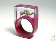 Wood ease  Funny deer ring with a silver by GeschmeideUnterTeck, €79.00