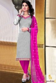 Make style unique with perfect daily wear grey color simple cotton salwar kameez at cheapest cost. A exclusive fashion dresses collection best for every season wear. #salwarsuit, #casualdrees more: http://www.pavitraa.in/store/casual-dress/