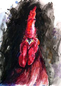 CHICKEN ART PRINT  watercolor chicken wall art farm by SignedSweet