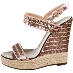 Pre-owned Valentino Sequin Ankle Strap Wedges (385 CAD) ❤ liked on Polyvore featuring shoes, sandals, pink, pink sandals, wedge shoes, pink wedge shoes, ankle strap wedge sandals and wedge heel sandals