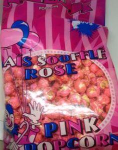 Pop Corn Rose 300g. Maïs soufflé rose en sac de 300g.