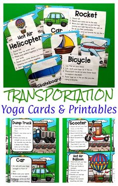 Transportation Themed Yoga Cards & Printables are fun to for preschoolers and add gross motor activity to their day!  These yoga moves are perfect for beginners and advanced yogis.  Preschool, kindergarten and up will love these moves pretending to be all sorts of vehicles.