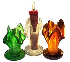 Recycled Beer Bottle Candle Holders! #recyclart