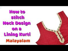 Neck design cutting and stitching in Malayalam/Churidar neck designs Neck Designs For Suits, Dress Neck Designs, Blouse Designs, Churidar Neck Designs, Neck Pattern, Step By Step Instructions, Sewing Patterns, Casual, Stitching