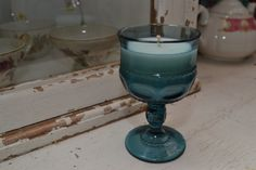 Candle in a Blue Vintage Thumbprint Glass